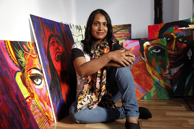 Kalki with her artworks
