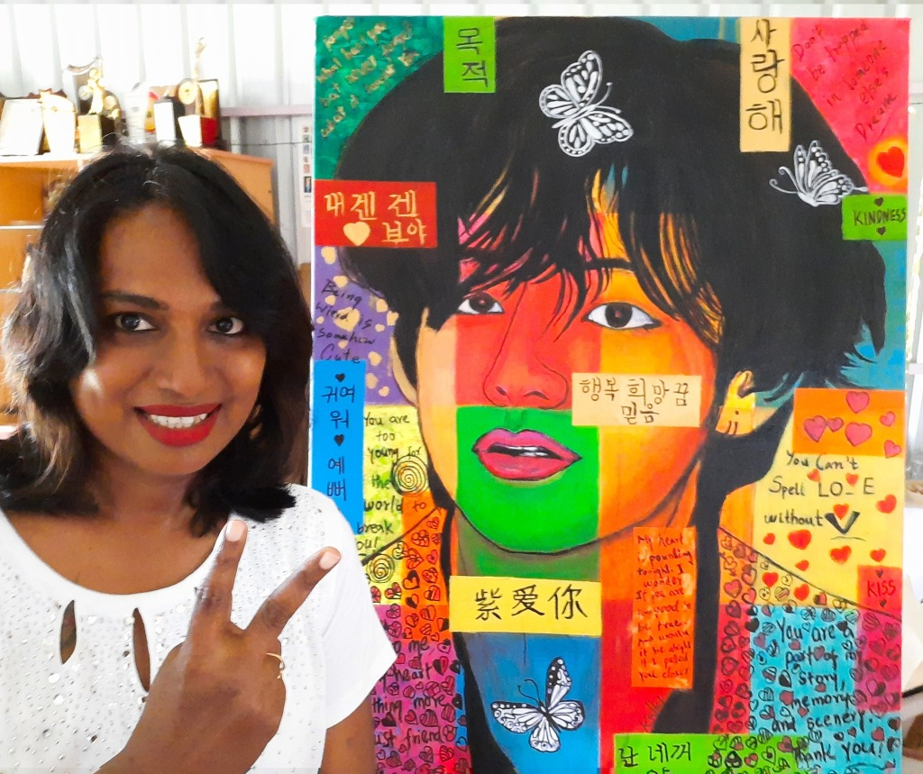 Kalki with Taehyung pop art in her studio